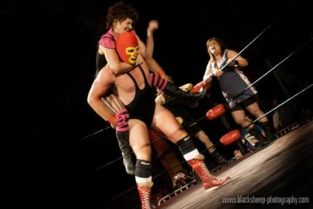 This photo of Brew City Bruisers' Romaniac choke-holding the K.G. Beast is actually from last year's Mondo Lucha. We'll have TONS of action shots from this year later this morning. Check back!